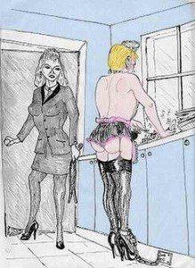 femdom sissy-seervant-chained-washing-dishes_image